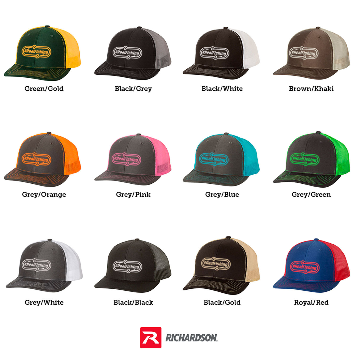 One Size Fits All and High Quality Brand Hats  Premium Richardson Brand graphin' Caps and Hats  Richardson brand structured trucker hats: 65/35 polyester/cotton 100% polyester mesh back Structured, mid-profile, six-panel Pre-curved contrast stitched visor Snapback closur